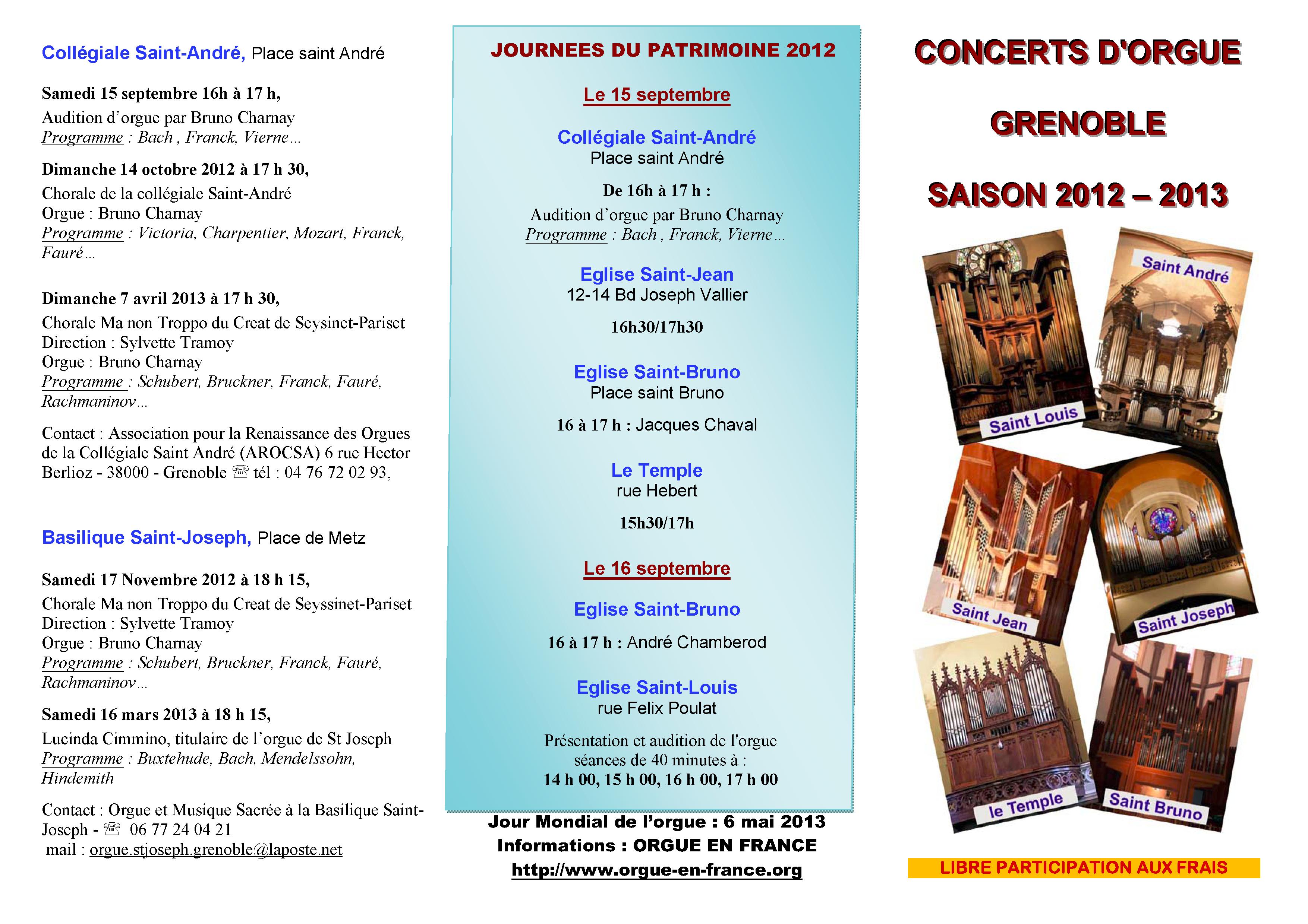 concerts d orgue grenoble saison 2012 2013 grenoble. Black Bedroom Furniture Sets. Home Design Ideas